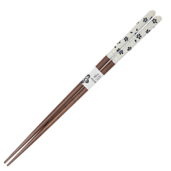 14685 wooden chopsticks   natural wood lacquer  black on white cherry blossom pattern