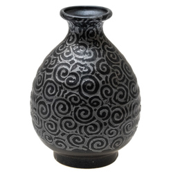 14694 ceramic sake bottle   black  silver swirl pattern
