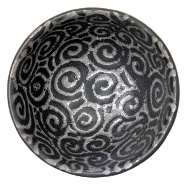 14695 ceramic sake cup   black  silver swirl pattern