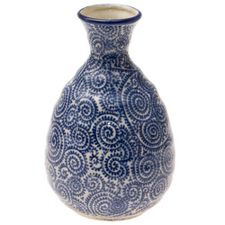 14698 ceramic sake server   white  blue foliage pattern