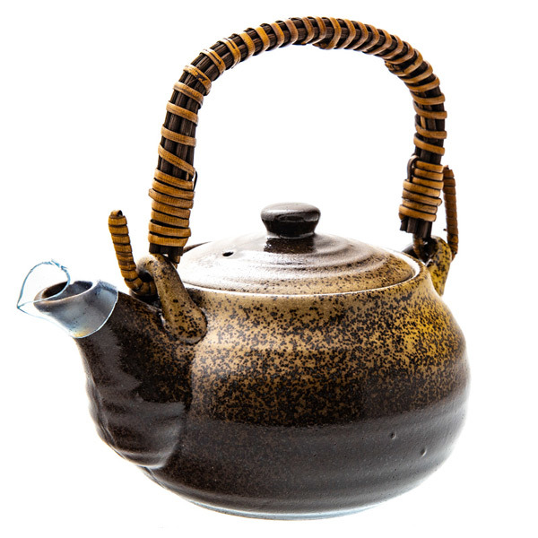 14686 ceramic teapot   brown and speckled light brown