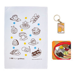 14931 gudetama shoryu ramen goody box tea towel  key ring and coaster