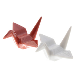 14901 ceramic origami crane shaped chopstick rests   red and white
