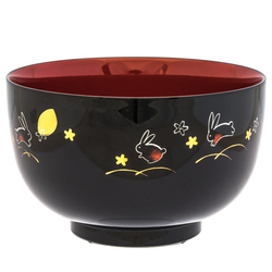 14904 plastic medium rice bowl   black and red  rabbit pattern