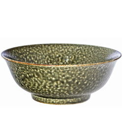 14907 ceramic noodle bowl   dark green  speckled pattern