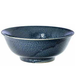 14908 ceramic noodle bowl   dark blue  speckled pattern