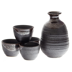 14921 ceramic sake set   black  brown glaze pattern