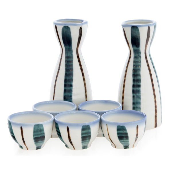 14914 ceramic sake set   white  blue and brown tokusa stripe pattern