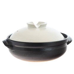 14915 ceramic donabe cooking pot   black and white