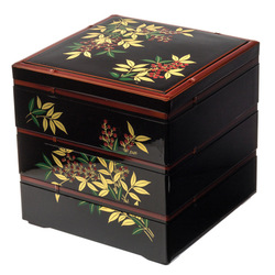 14916 three tier bento lunch box for serving   black and red  nandina pattern