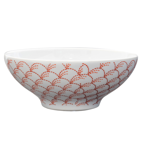14918 ceramic rice bowl   white and red nowaki autumn grass pattern