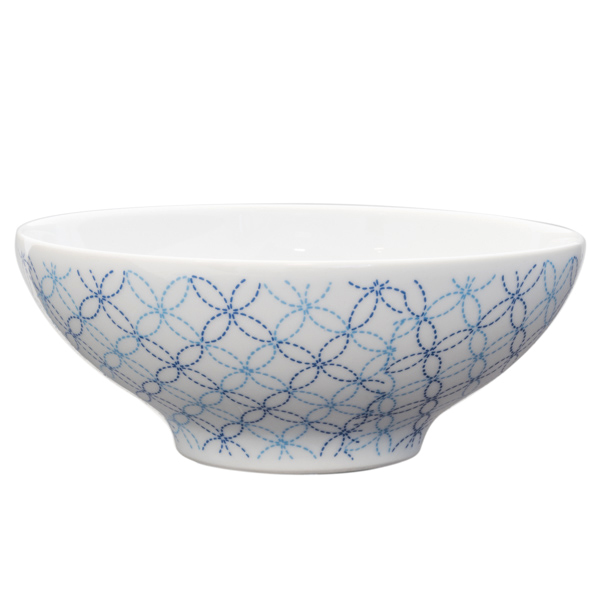 14919 ceramic rice bowl   white and blue shippo circle pattern