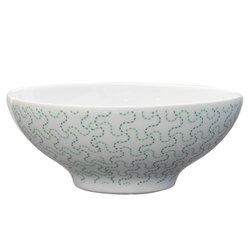 14920 ceramic rice bowl   white and green  fundo tessellated cross pattern