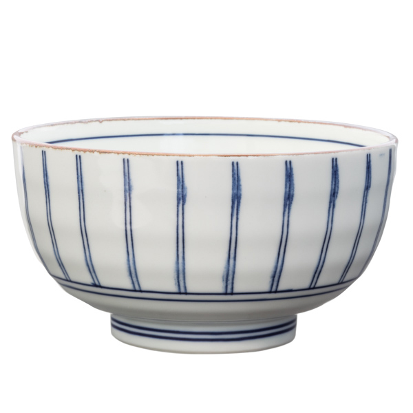 14925 ceramic noodle bowl   white  brown rim and blue stripe pattern
