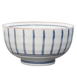 14925 ceramic noodle bowl   white  brown rim and blue stripe pattern