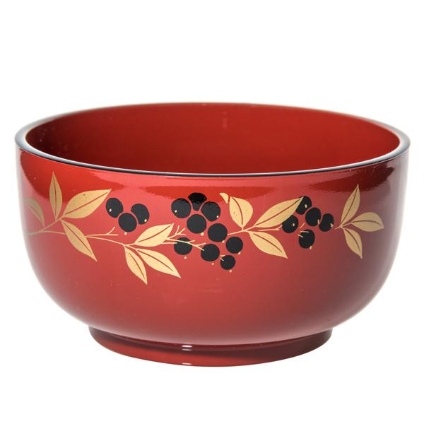 14936 plastic noodle bowl   red  nandina pattern