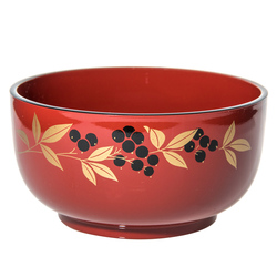 14936 plastic noodle bowl   red  nandina pattern