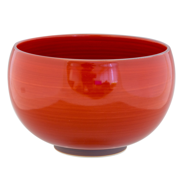 14934 ceramic noodle bowl   red  dark brown rim