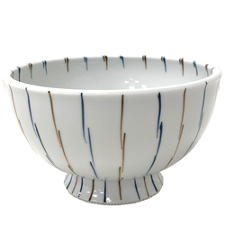 14924 ceramic noodle bowl   white  brown and blue stripe pattern