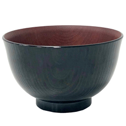 14923 plastic miso soup bowl   brown  wood effect