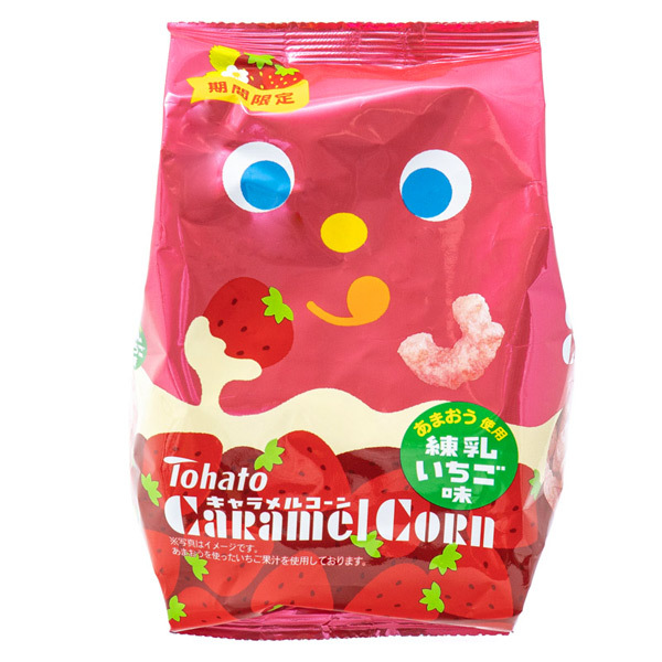 14948 tohato caramel corn condensed milk and strawberry snacks