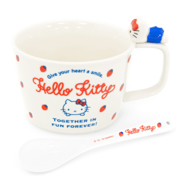15040  sanrio hello kitty ceramic soup mug with spoon   side view