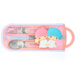 15038  sanrio little twin stars bento cutlery set   raised character design   with lid