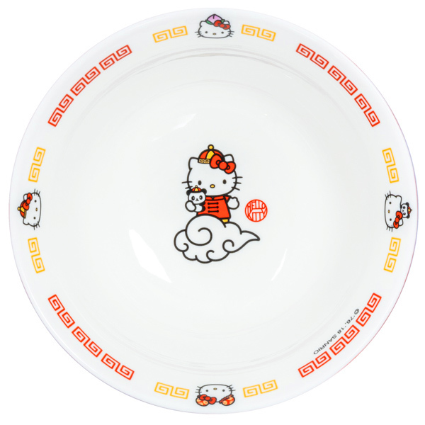 15041  sanrio hello kitty ceramic donburi ramen noodle bowl   from above