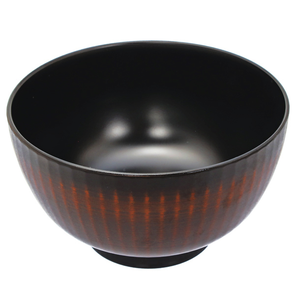 15090  hakoya plastic noodle bowl   dark brown and black  ribbed effect