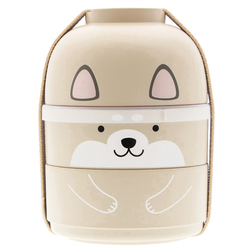 15092  hakoya shiba inu dog kokeshi doll bento lunch box   beige   storage form