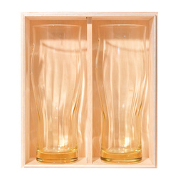 14680  glass beer glass set with wooden box