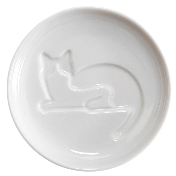 14633 artha ceramic soy sauce dish   cat pattern  looking back