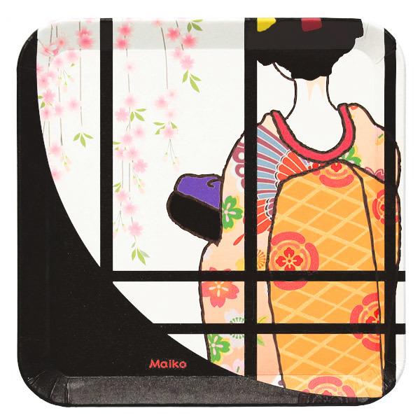15293  suzuki shofudo kyoto square paper plate   maiko design   open