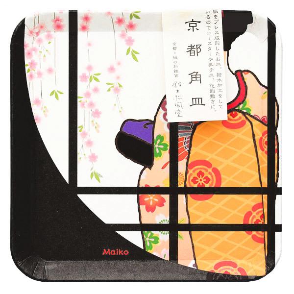 15293  suzuki shofudo kyoto square paper plate   maiko design   with sleeve