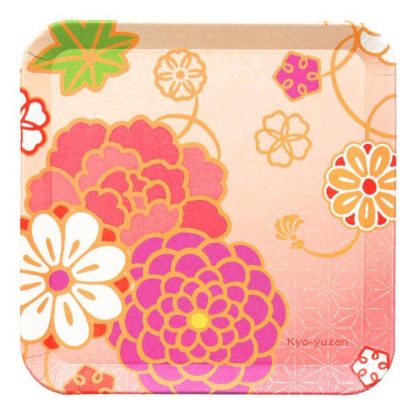 15294  suzuki shofudo kyoto square paper plate   yuzen design   open