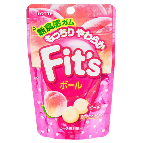 15325  lotte fit's peach chewing gum balls