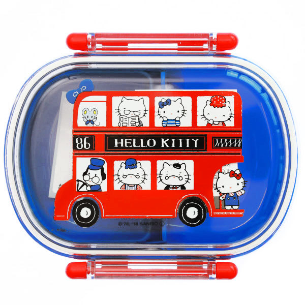15266  sanrio hello kitty bento lunch box with clips   london design  blue   shut