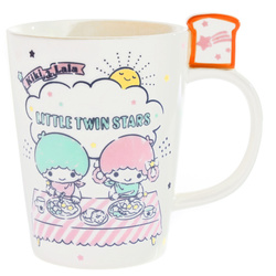 15253  sanrio little twin stars ceramic mug   bread and breakfast pattern