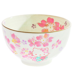15242  sanrio hello kitty ceramic rice bowl   sakura cherry blossom pattern   front