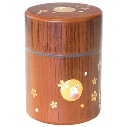 15493  tea canister   brown  rabbit pattern  small