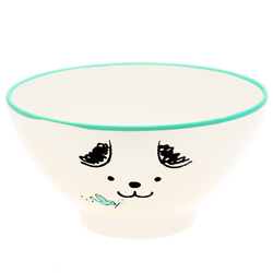 15491  hakoya plastic rice bowl   beige  puppy pattern