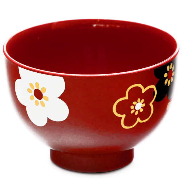 15490  hakoya plastic miso soup bowl   red  ume plum blossom pattern