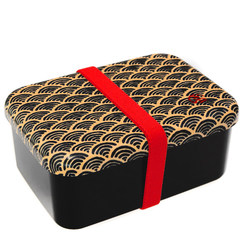 15485  hakoya one tier bento lunch box with belt   black  seigaiha wave pattern  large   closed   copy