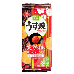 15442  kamedaseika usuyaki plum and wasabi thin rice crackers