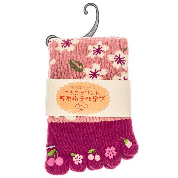 15499  japanese toe socks   sakura cherry blossom pattern   folded