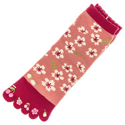 15499  japanese toe socks   sakura cherry blossom pattern   open
