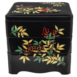 15503  three tier bento lunch box for serving   black  white and red  nandina pattern   all together