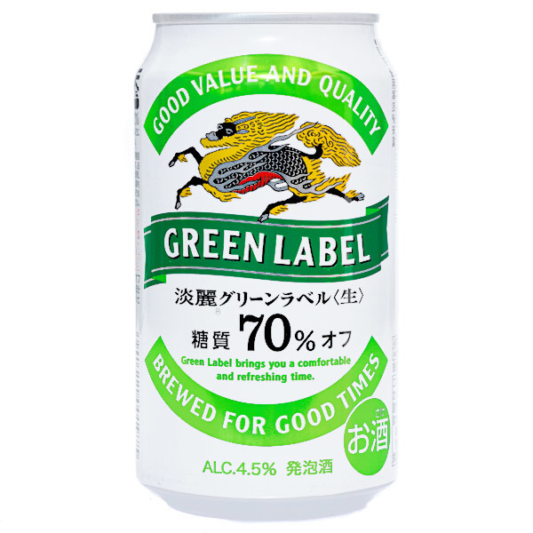 15545  kirin kirin tanrei green label lower sugar happoshu beer  can