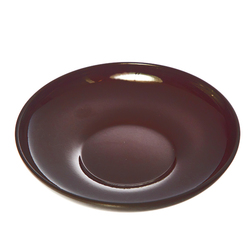 15518  miyamoto sangyo plastic lacquered tea cup saucer and side dish   small  dark brown   above