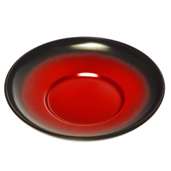 15519  miyamoto sangyo plastic lacquered tea cup saucer and side dish   black and crimson   top